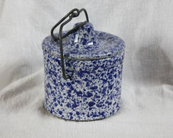 Vintage Blue and White Spongeware Butter or Cheese Crock
