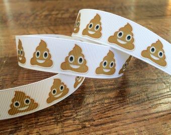 5 yards 7/8 emoji ribbon. Emoji ribbon, crap ribbon, grosgrain ribbon, craft, crafting, sewing, scrapbook, hairbows