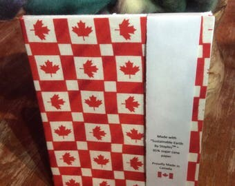 Hand Bound Journal - Maple Leaf print cover - plain paper