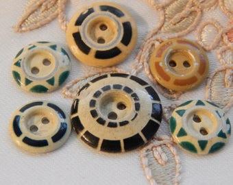 Aluminum Stencil Antique Buttons - 6