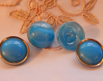 Deep Turquoise Color Vintage Glass Buttons - 4