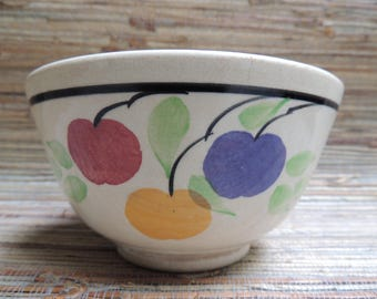 Vintage Pottery Bowl With Fruit & Leaves Made In England