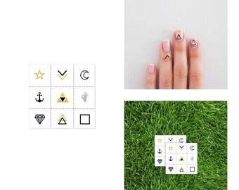 2 PACK Cuticle Nail Tattoos - Metallic Temporary Flash Tattoo