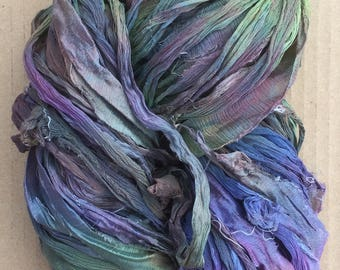 Sari Silk Chiffon Ribbon Hand Dyed, Silk Ribbon, Wide Silk Ribbon, Silk Chiffon Ribbon, Colour No.53 Spruce