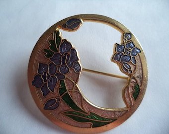 Fabulous Vintage Signed Fish Cloisonne Openwork Flowers Brooch/Pin