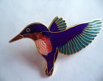 Vintage Unsigned Cloisonne Lightweight Hummingbird Brooch/Pin