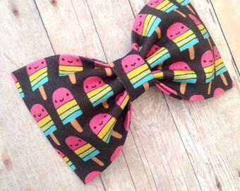 Ice cream popsicle hair bow babyheadband preppy rainbow