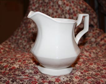 "Vintage Johnson Brothers ""Heritage"" White Ironstone Creamer/ Pitcher made in England"