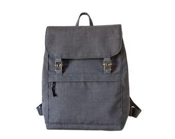 Canvas Backpack, Canvas Rucksack, Laptop Backpack, Canvas Weekender Bag, Waxed Canvas Bag, Charcoal Grey Stripe