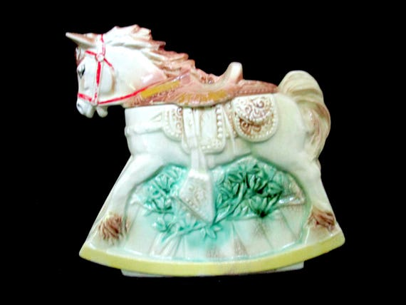 Vintage Horse Cookie Jar, McCoy Cookie Jar, McCoy Pottery Rocking Horse Cookie Jar, Western Cowboy Old Cookie Jar
