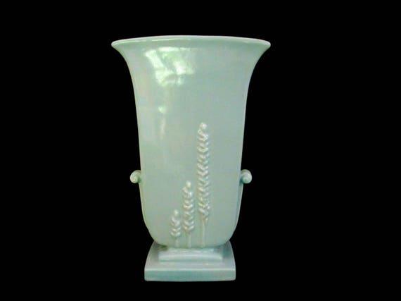 Vintage Vase, Tall Art Deco Vase, Light Blue Pottery, Large Embossed Vase