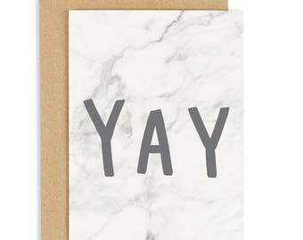 SALE: Yay Marble Card - Marble Card - Congratulations Card - Greeting Card - CC199