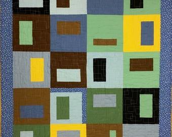 Modern Baby boy quilt, wheelchair quilt, handmade baby quilt, made in Canada, #159