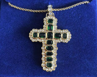 Jackie Kennedy GP Emerald Aura Cross  with Crystals, Box and Certificate