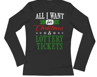 Want Lottery Tickets Christmas Money Cash Gift Card Long Sleeves