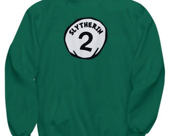 Dr. Seuss Halloween Slytherin 2 Funny Gift Hoodie Harry Potter Thing One Two Silly