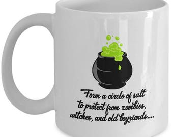 Halloween Hocus Pocus Protect Old Boyfriends Funny Gift Mug Coffee Cup Cauldron