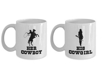 Her Cowboy and His Cowgirl Mug SET OF TWO Gift for Husband Boyfriend Couples His Hers Horse Riding Rider Coffee Cup