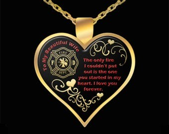 Heart Necklace Gift for Wife Girlfriend Fiance from Firefighter Fireman Love Pendant Jewelry (Choice of Metal)