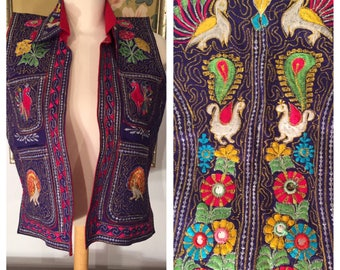 Vintage Hand Embroidered Indian Vest -- Intricate Design, Bold Colors!