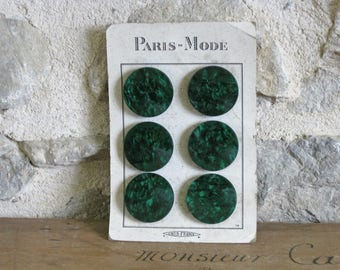 Huge dark green buttons, card of 6 1950s malachite green plastic buttons 1.8 inch diameter