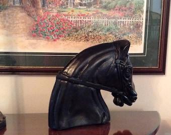 Vintage Cast Aluminum Carnival Horse Head/Horse Head Bust/Black/Equestrian Statue/Garden Decor/Horse Lovers