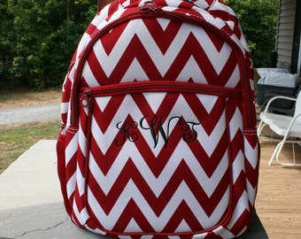 Personalized Computer Backpack Red Chevron Girls Monogram Bookbag