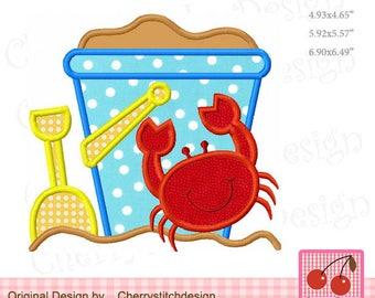 Beach bucket  with Crab Summer Machine Embroidery Applique Design SUM26