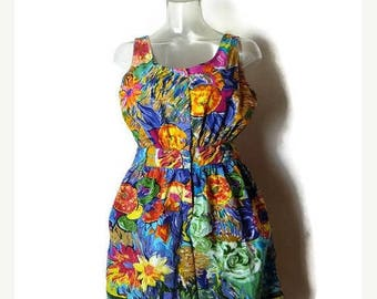 ON SALE Vintage Colorful Floral Printed Sleeveless Cotton Romper/Onesie /All in one from 1980's*