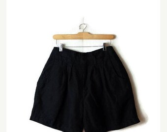 ON SALE Vintage Plain Black High waist  Flare Shorts from 1980's/ W25*