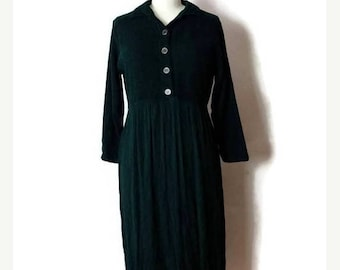 ON SALE Vintage Dark Green Long Sleeve Slouchy Dress from 80's*