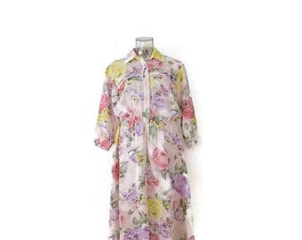 ON SALE Vintage  Floral printed Sheer Chiffon Long sleeve  Dress from 1980's*