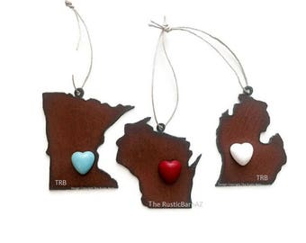 MINNESOTA WISCONSIN or MICHIGAN Ornament with faux stone heart magnet made of Rustic Rusty Rusted
