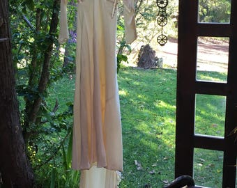 1930s silk wedding dress gown cowl neck needs re-designing and repairs Xsmall
