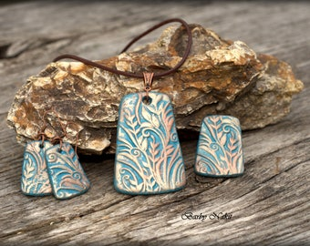 Turquoise handmade set, gift, polymer clay, necklace, ring, earrings
