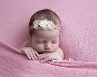 Peach Cream Headband,Newborn nylon peach headband,Baby girl off white orach photo prip