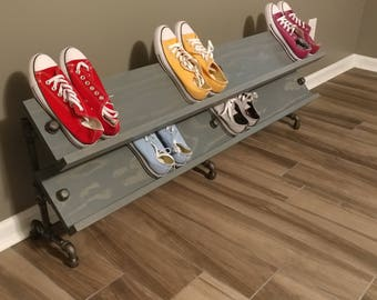 Handmade Reclaimed Wood Wide Angled Shoe Stand / Rack / Organizer with Pipe Stand Legs