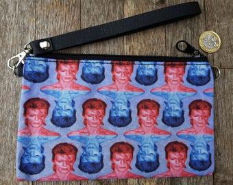 Red & Blue David Bowie Aladdin Sane Purse - Vintage Lightning Bolt Clutch Bag