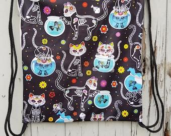 Black Candy Skull Cats Backpack - Bag Gym Handbag Skeleton Kitten