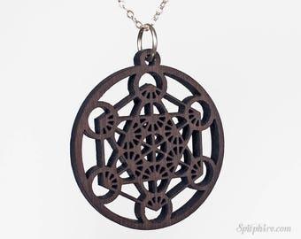 Metatrons's Cube Necklace - Wood - Large - Sacred Geometry Pendant - Merkaba - Laser Cut