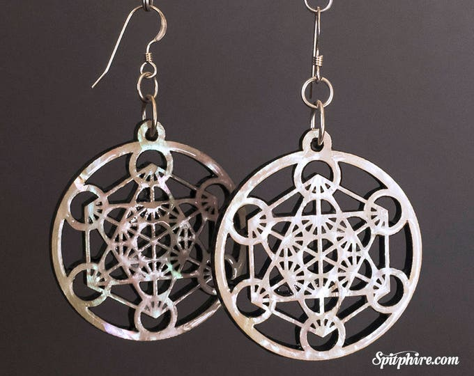 Metatron's Cube Earrings - Large - Mother of Pearl