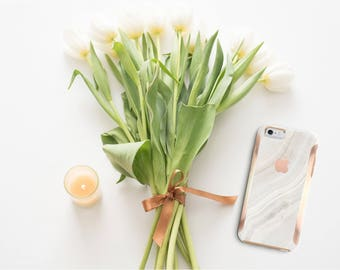 Marble Stone and Rose Gold Case Otterbox Symmetry iPhone 6 / iPhone 7 / iPhone 8 / iPhone X / PopSocket or WizGear Optional-Platinum Edition