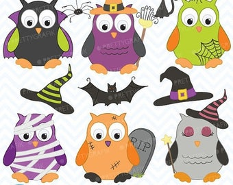 80% OFF SALE Halloween owls clipart commercial use, vector graphics, digital clip art, digital images - CL369