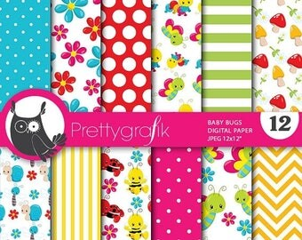 80% OFF SALE Baby bugs digital paper, commercial use, scrapbook papers, background chevron, stripes - PS713