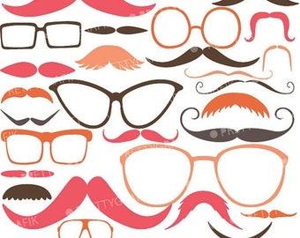 80% OFF SALE Moustache Prop, Mustache clipart commercial use, vector graphics, digital clip art, digital images - CL561