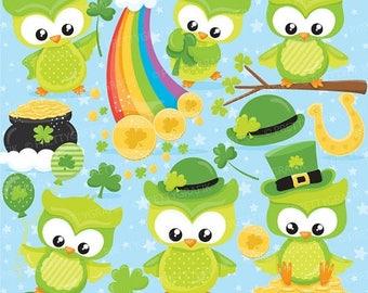80% OFF SALE St-patrick's owls clipart commercial use, st-patrick vector graphics, digital clip art, digital images - CL814