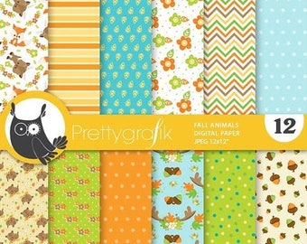 80% OFF SALE Fall animals digital paper, commercial use,  fox scrapbook papers,  deer background - PS884