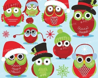 80% OFF SALE 80 Percent 0FF Sale Christmas Owls clipart commercial use, vector graphics, digital clip art, digital images  - Cl588