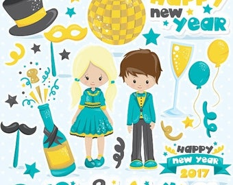 80% OFF SALE New Year clipart commercial use, New year's clipart, vector graphics, party digital clip art, party digital images  - CL1051