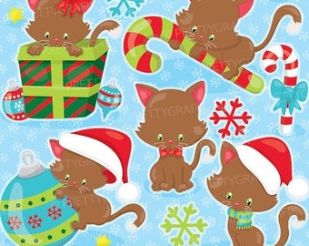 80% OFF SALE Christmas kitties clipart commercial use, vector graphics, digital clip art, digital images  - CL923